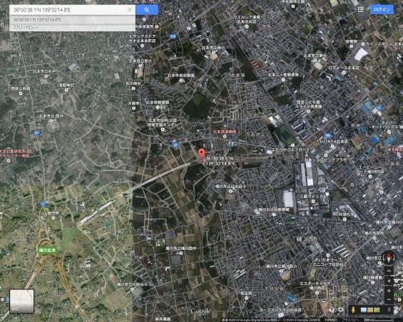 20140418 圏央道進捗状況 桶川市上日出谷グーグルマップ航空写真