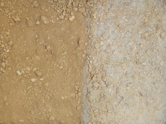 お墓に使用する玉砂利と砂 土の固化 拡大 DSCN5989