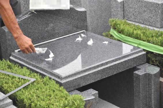 お墓 墓石の建墓手順 順番DSC_2625-⑪接着剤