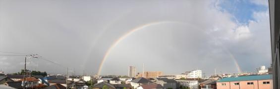2015年9月9日 台風の土砂降り 虹 全部見える 半弧 半円DSCN7160