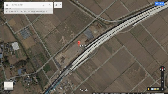 2015年10月 圏央道進捗状況 菖蒲paパーキングエリア 工事中の様子 グーグルマップ 航空写真 空撮