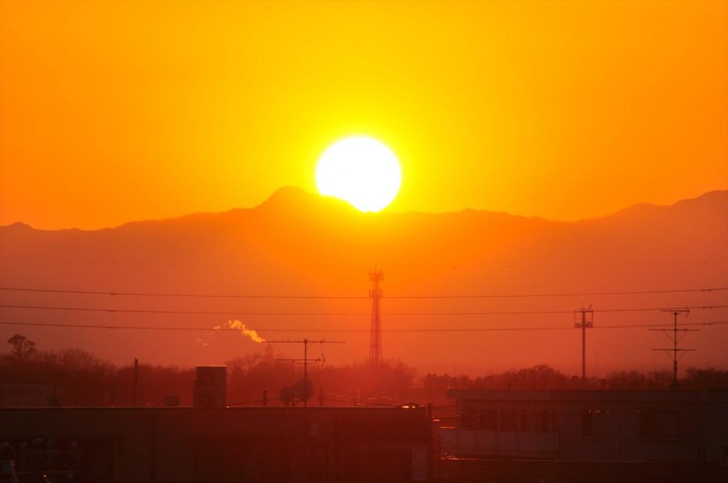 2015年12月22日 冬至の日没 埼玉県上尾市DSC_4670