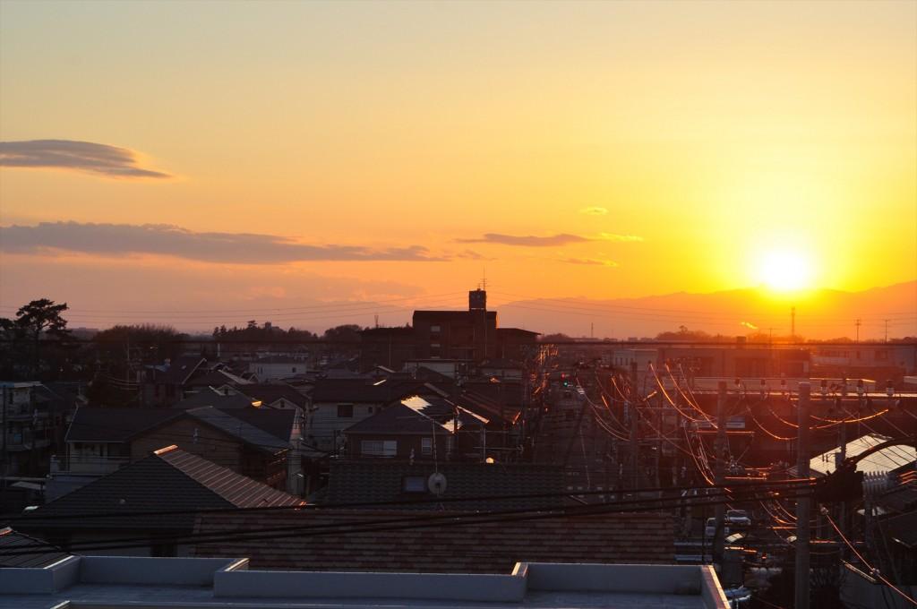 2015年12月22日 冬至の日没 埼玉県上尾市DSC_4668