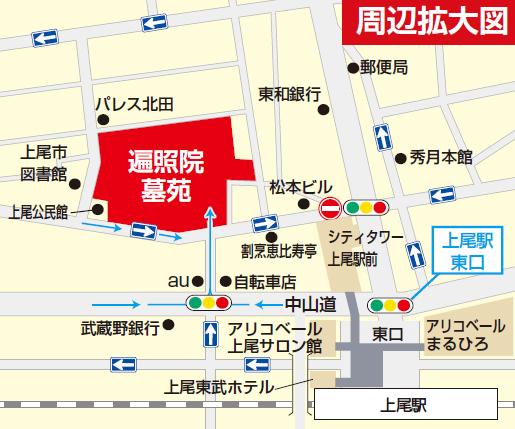 埼玉県上尾市の寺院 遍照院 地図 駅近い 徒歩三分2